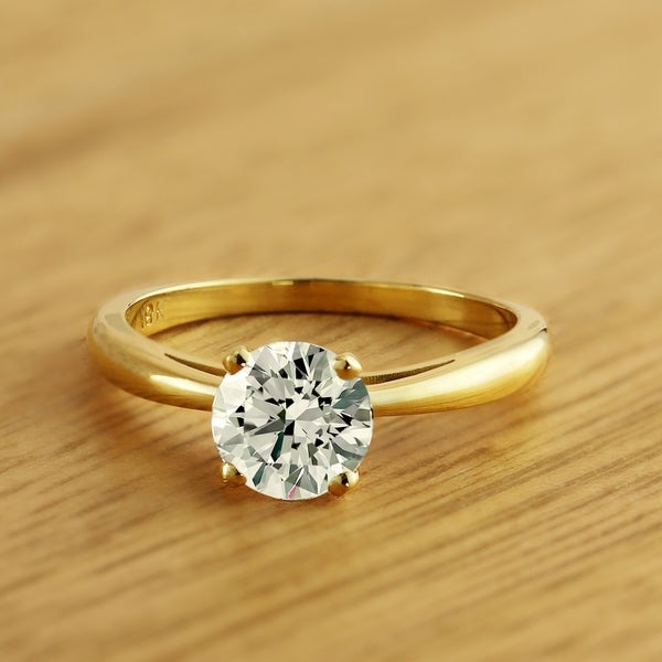 Auriya 18k Gold 1 Carat TDW Round Diamond Solitaire Engagement Ring