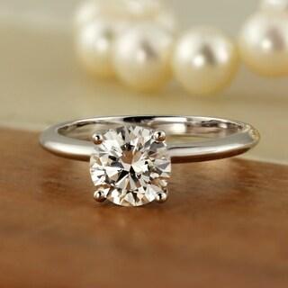Auriya 18k Gold 1ct TDW Round Diamond Solitaire Engagement Ring