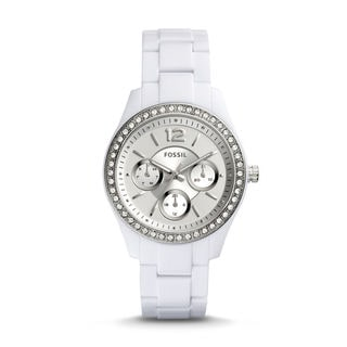 Fossil Women's ES3813 Stella Multi-Function Silver Dial White Resin Bracelet Watch