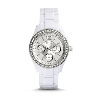 Fossil Women's ES3813 Stella Multi-Function Silver Dial White Resin Bracelet Watch