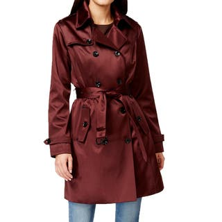 Michael Michael Kors Women's Burgundy Satin Trench Coat|https://ak1.ostkcdn.com/images/products/11460964/P18418430.jpg?impolicy=medium