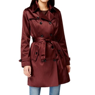 Michael Michael Kors Women's Burgundy Satin Trench Coat