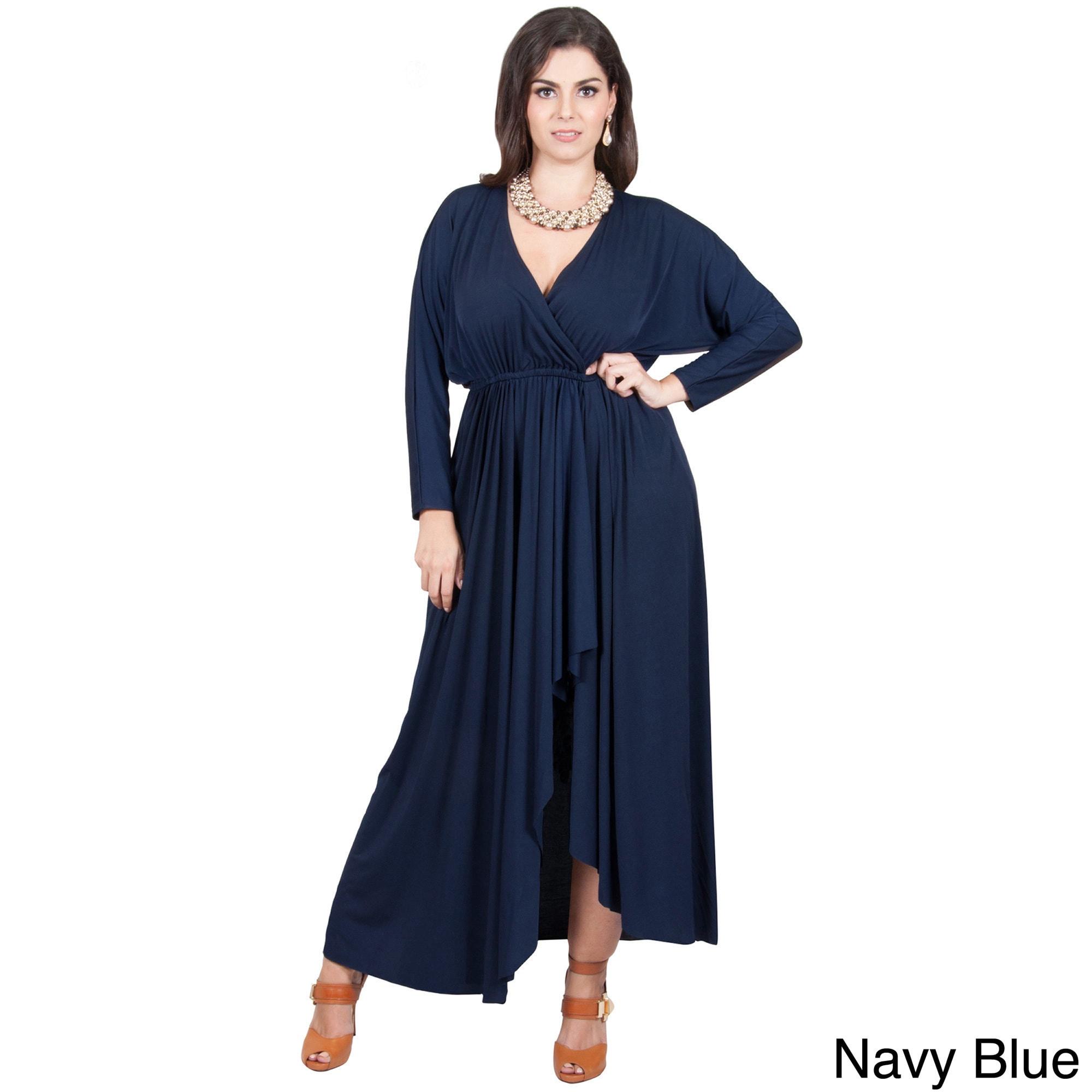 KOH KOH Women\'s Plus Size Long Sleeve Wrap Cross Over Maxi Dress