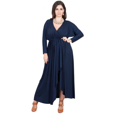KOH KOH Women's Plus Size Long Sleeve Wrap Cross Over Maxi Dress