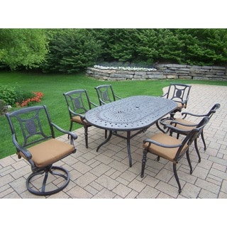 Sunbrella Aluminum 7-piece Dining Set with Table, 4 Stackable Chairs, 2 Swivel Rockers and Sunbrella Cushions