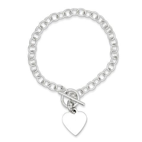 Versil Sterling Silver Polished Heart Charm Bracelet