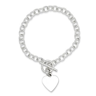 Versil Sterling Silver Polished Heart Charm Bracelet