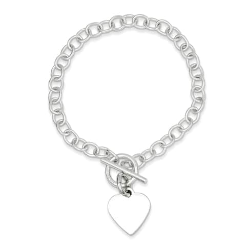 Sterling Silver Polished Heart Charm Bracelets with Stations by Versil