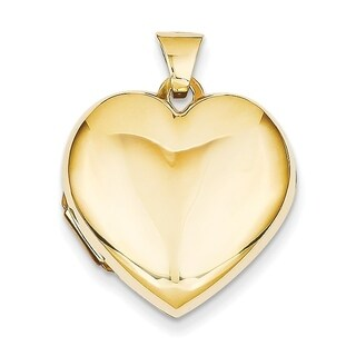 Versil Women's 14k Yellow Gold Heart Domed Plain Locket