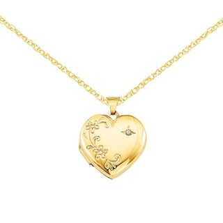 Versil 14 Karat Yellow Gold Diamond Family Heart Locket