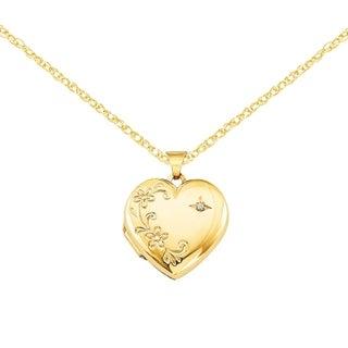 Versil 14 Karat Yellow Gold Diamond Family Heart Locket