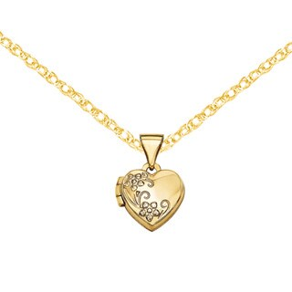 "Versil 14 Karat Yellow Gold Floral Etched Heart Locket w/18"" Chain"