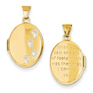 Versil 14kTwo-tone Gold Footprints Locket Pendant