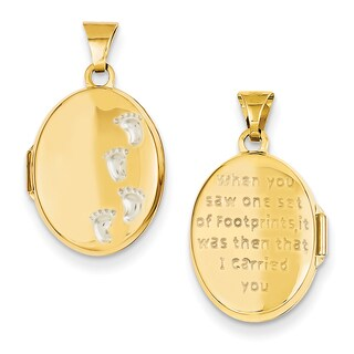 Versil 14k Two-tone Gold Footprints Locket Pendant with 18-inch .5mm Cable Chain