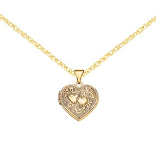 "Versil 14 Karat Yellow Gold Double Heart Locket Pendant w/18"" Chain"
