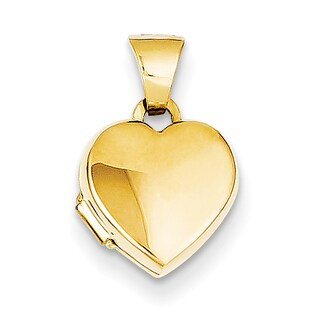 Versil 14k Yellow Gold Simple Heart Locket with 18-inch Chain