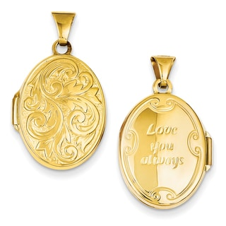Versil 14k Yellow Gold 'Love You Always' Reversible Locket with 18-inch Chain