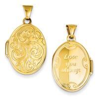"""Versil 14 Karat Gold Love You Always Reversible Locket w/ 18"""" Chain"""