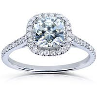 Annello by Kobelli 14k White Gold 1 1/3ct TGW Forever One Moissanite and Diamond Cushion Halo Engagement Ring (DEF/VS, GH/I)
