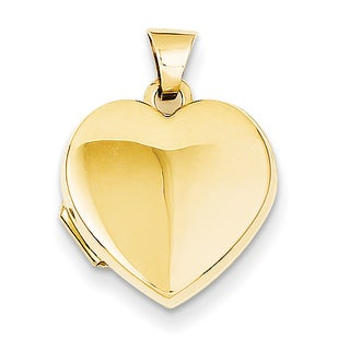 Versil 14 Karat Yellow Gold Plain Heart Locket with 18-inch Chain