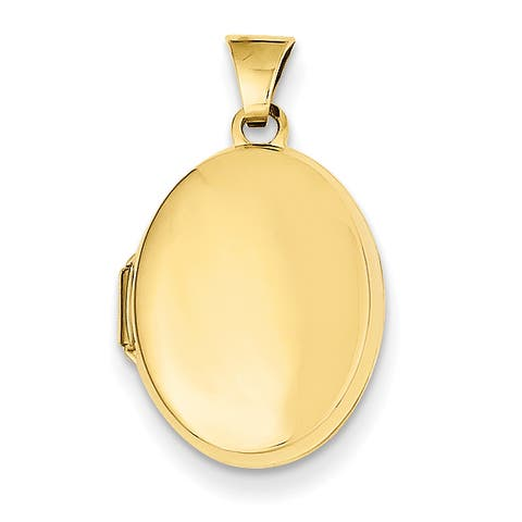 14 Karat Yellow Gold Plain Polished Oval Locket with 18-inch Chain by Versil