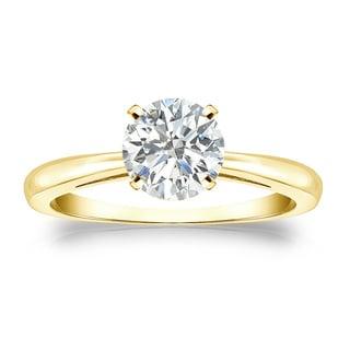 Auriya 18k Gold 1ct TDW Round-cut Diamond Solitaire Engagement Ring (I-J, SI1-SI2)