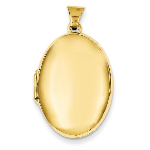 14 Karat Yellow Gold Domed Oval Locket with 18-inch Chain by Versil