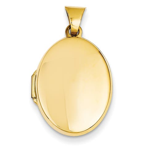 14 Karat Yellow Gold Polished Oval Locket with 18-inch Chain by Versil