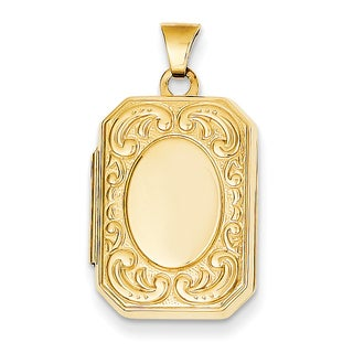 Versil 14 karat Yellow Gold Rectangle Locket with 18-Inch Chain