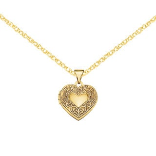 Versil 14k Yellow Gold Scroll Heart Locket