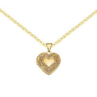Versil 14 Karat Yellow Gold Scroll Heart Locket with 18-inch Chain