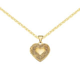 Versil 14k Yellow Gold Scroll Heart Locket