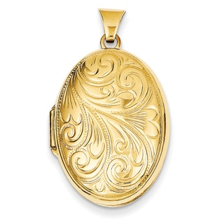 Versil 14k Yellow Gold Scroll Oval Locket