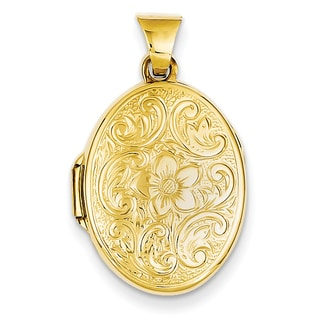Versil 14k Yellow Gold Scrolled Floral Locket with 18-inch Chain