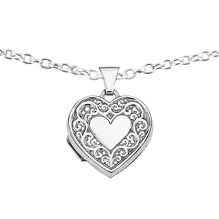 Versil Sterling Silver Filigree Heart Locket