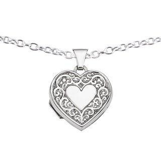 Versil Sterling Silver Filigree Heart Locket with 18-inch Chain