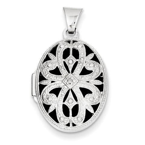 14 Karat White Gold 21mm Oval with Diamond Vintage Locket with 18-inch Chain - white gold by Versil