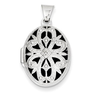 Versil 14k White Gold 21mm Oval with Diamond Vintage Locket