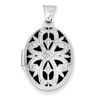 Versil 14k White Gold 21mm Oval with Diamond Vintage Locket with 18-inch Chain