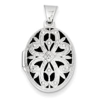 Versil 14k White Gold 21mm Oval with Diamond Vintage Locket with 18-inch Chain - white gold