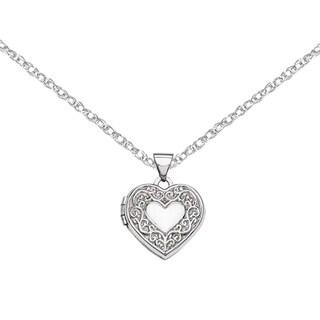 Versil 14 Karat White Gold Heart Locket with 18-inch Chain