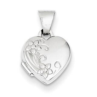 Versil 14k White Gold Polished Heart-Shaped Floral Locket