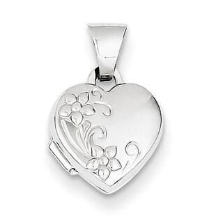 Versil 14k White Gold Polished Heart-shaped Floral Locket with 18-inch Chain