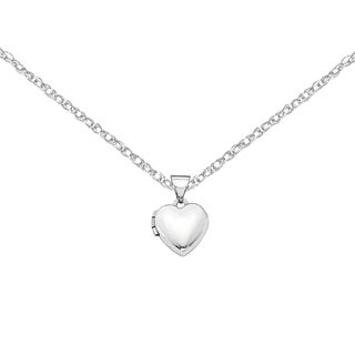 Versil 14k White Gold Polished Heart-Shaped Locket with 18-inch Chain