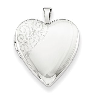 Versil Sterling Silver 20mm Polished Swirl Heart Locket with 18-inch Chain