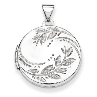 Versil Sterling Silver 20mm Round Leaf Floral Locket