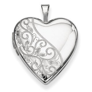 Versil Sterling Silver 20mm Swirl and Polished Heart Locket