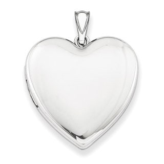 Versil Sterling Silver 24mm Plain Heart Locket