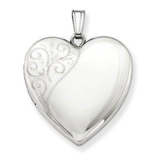 Versil Sterling Silver 24mm Swirl Heart Locket with 18-inch Chain