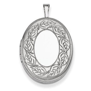 Versil Sterling Silver 26mm Leaf Border Oval Locket